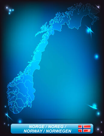 Map of Norway with borders with bright colors Illustration