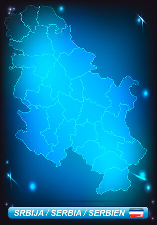 Map of Serbia with borders with bright colors