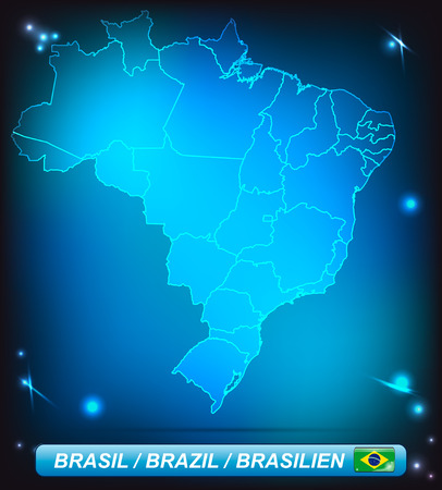 Map of Brazil with borders with bright colors 矢量图像