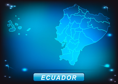 guayaquil: Map of ecuador with borders with bright colors