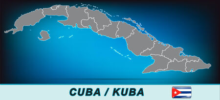 havana cuba: Map of Cuba with borders in bright gray