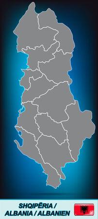 albanie: Carte de l'Albanie avec des bordures en gris clair