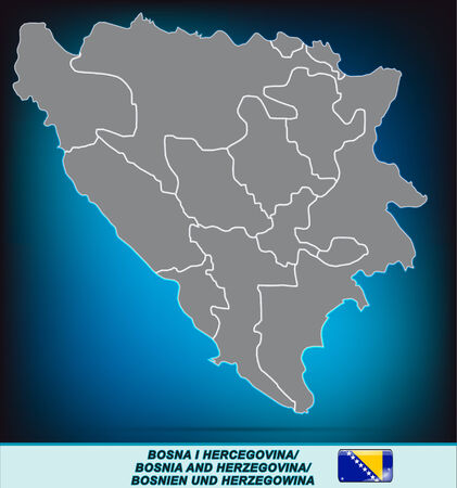 tuzla: Map of Bosnia and Herzegovina with borders in bright gray