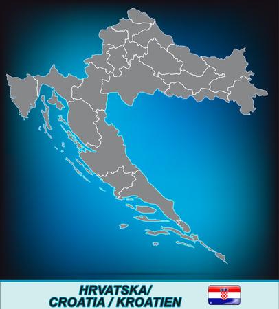 Map of Croatia with borders in bright gray Ilustração