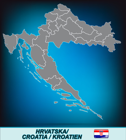 Map of Croatia with borders in bright gray Illustration