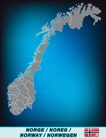 Map of Norway with borders in bright gray