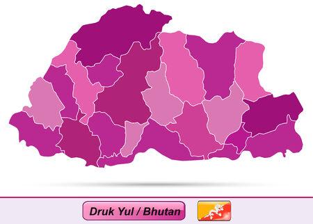 bhutan: Kaart van Bhutan met randen in violet