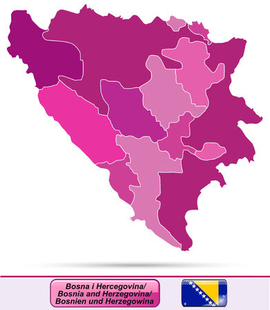 tuzla: Map of Bosnia and Herzegovina with borders in violet