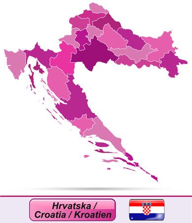 Map of Croatia with borders in violet Ilustração