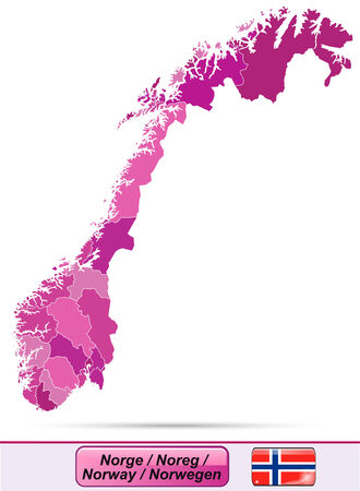 Map of Norway with borders in violet Illustration
