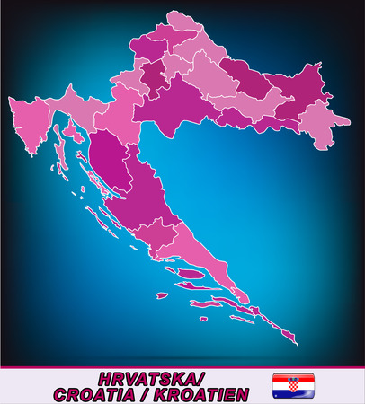 Map of Croatia with borders in violet Illustration