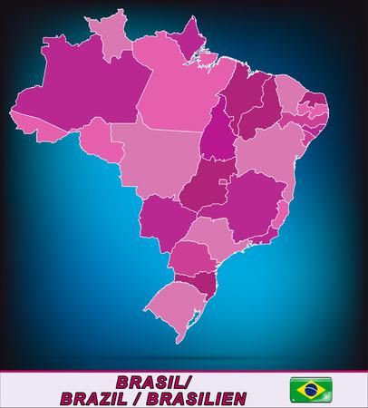 belem: Map of Brazil with borders in violet Illustration