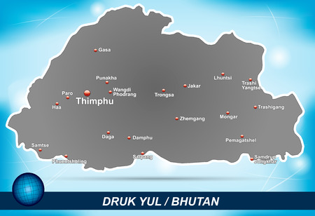 bhutan: Kaart van Bhutan met abstracte achtergrond in blauw