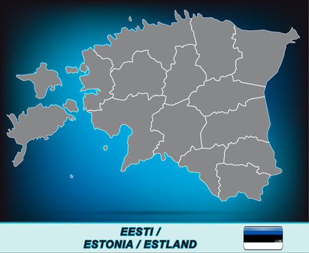 Map of Estonia with borders in bright gray