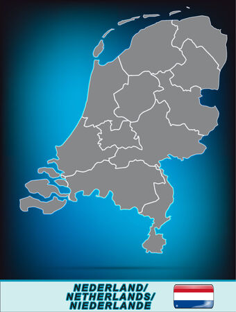 Kaart van Nederland met randen in heldere grijs