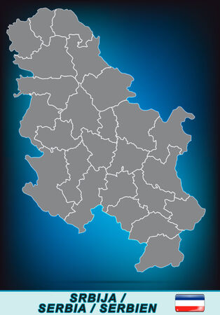 Map of Serbia with borders in bright gray