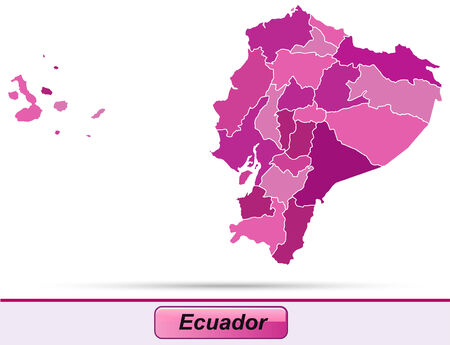 loja: Map of ecuador with borders in violet Illustration