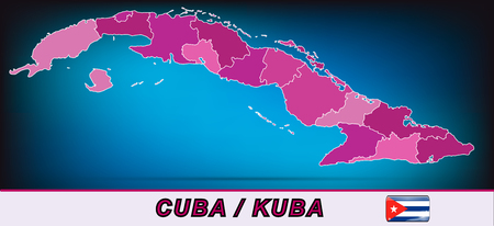 guantanamo: Map of Cuba with borders in violet