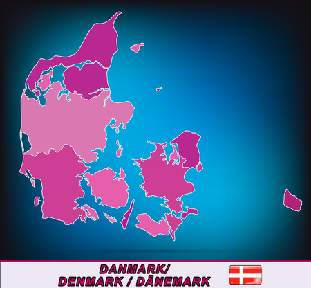 esbjerg: Map of Denmark with borders in violet