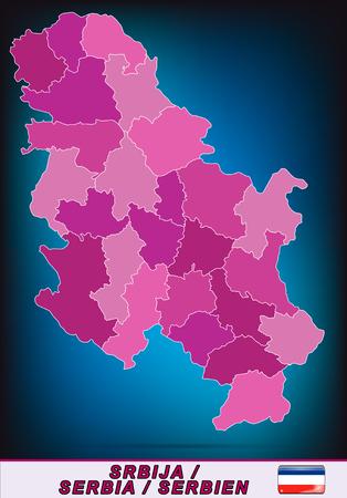 serbien: Karte von Serbien mit Grenzen in violett Illustration