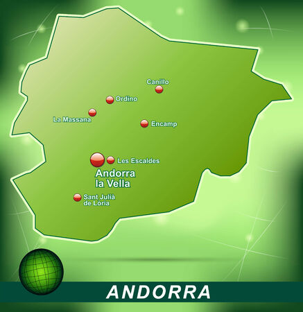 andorra: Map of Andorra with abstract background in green