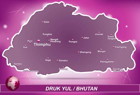 bhutan: Kaart van Bhutan met abstracte achtergrond in violet
