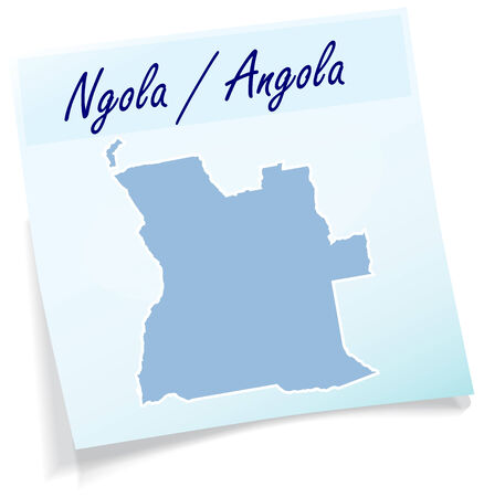 map of angola: Map of angola as sticky note in blue