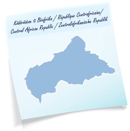 central african republic: Map of Central African Republic as sticky note in blue Illustration