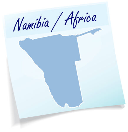 namibia: Map of Namibia as sticky note in blue Illustration