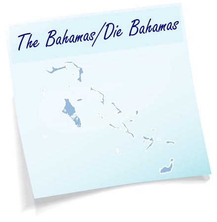 bahama: Map of Bahamas as sticky note in blue Illustration
