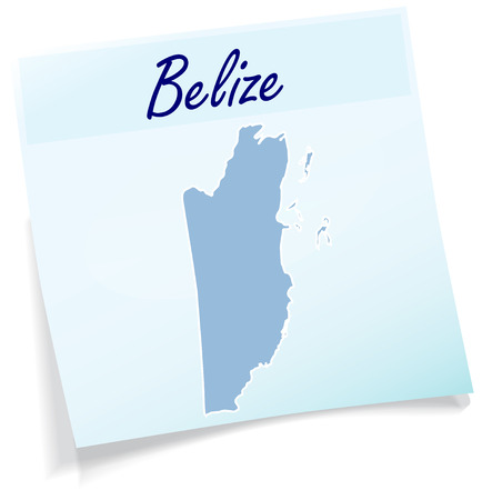 Map of belize as sticky note in blue Illustration
