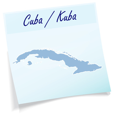 havana cuba: Map of Cuba as sticky note in blue