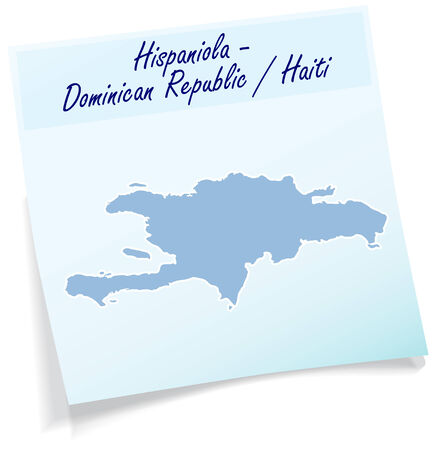 domingo: Map of hispaniola as sticky note in blue