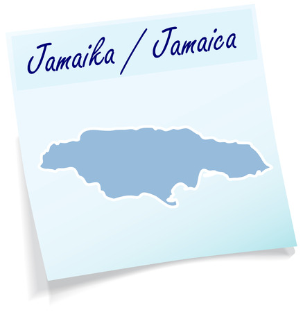 black maria: Map of Jamaica as sticky note in blue Illustration