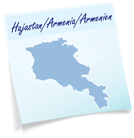 Map of Armenia as sticky note in blue