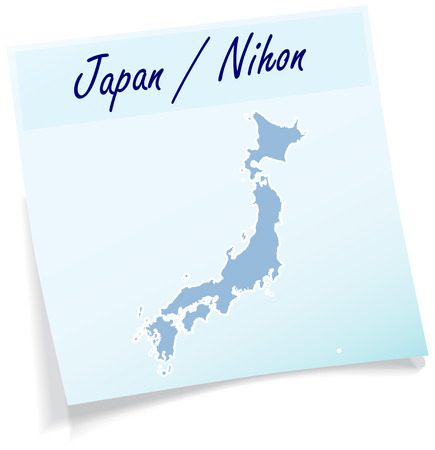 nihon: Map of Japan as sticky note in blue Illustration