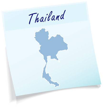 Map of Thailand as sticky note in blue