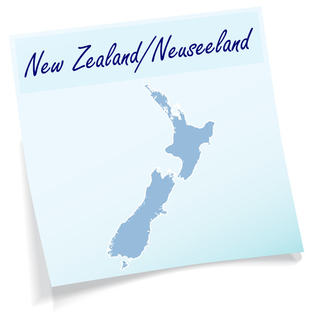hamilton: Map of new zealand as sticky note in blue Illustration
