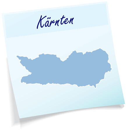 Map of kaernten as sticky note in blue Illustration