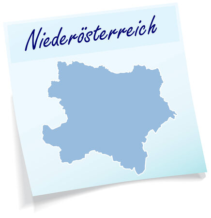 Map of Lower Austria as sticky note in blue Vector