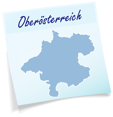 Map of upper Austria as sticky note in blue Vector