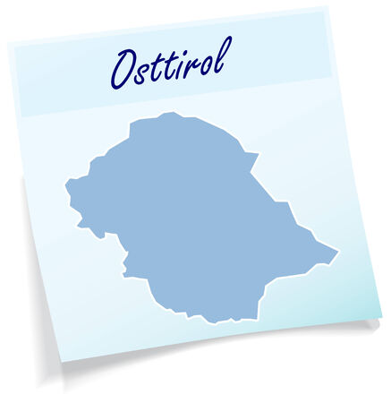 tyrol: Map of East Tyrol as sticky note in blue Illustration