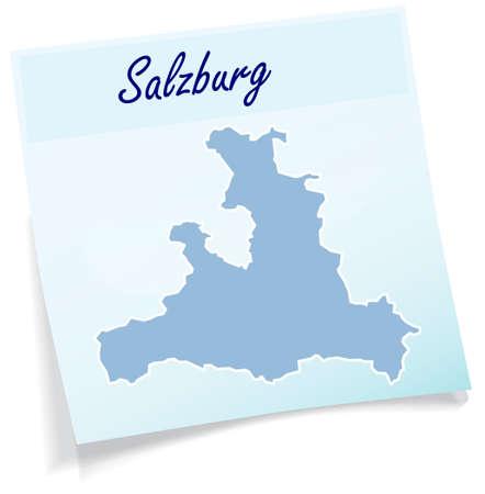 saalfelden: Map of salzburg as sticky note in blue