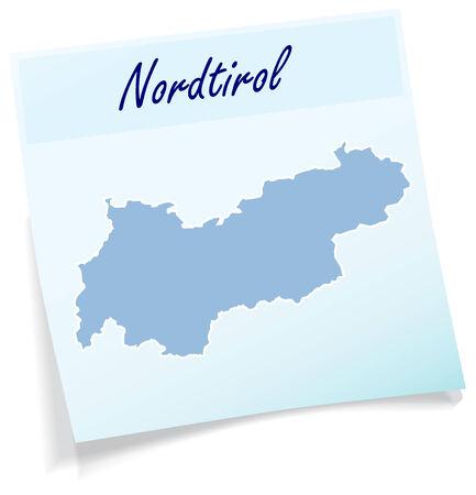 チロル: ブルーの付箋としてチロルの地図