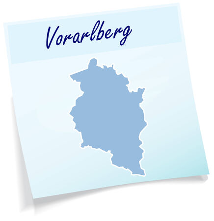 canton: Map of vorarlberg as sticky note in blue