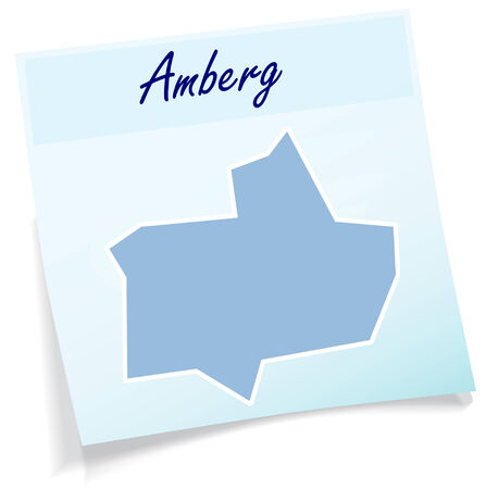 Map of Amberg as sticky note in blue
