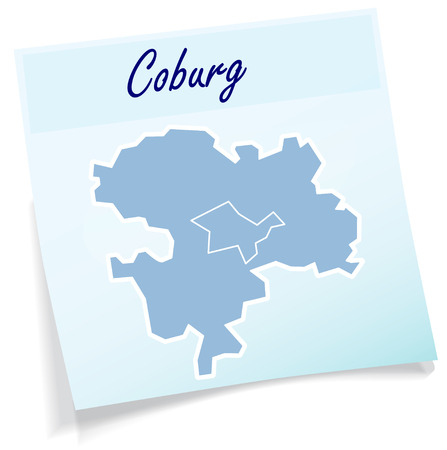 Map of Coburg as sticky note in blue Illustration