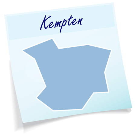 Map of Kempten as sticky note in blue