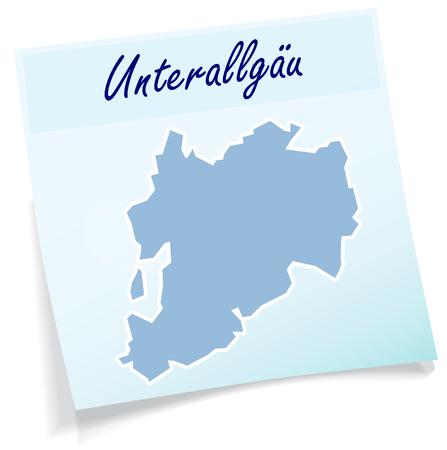 Kaart van Unterallgaeu als notitie in het blauw