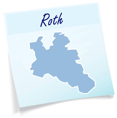 roth: Map of Roth as sticky note in blue